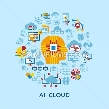 Digital vector artificial intelligence cloud icons set infographics - frimufilms.com
