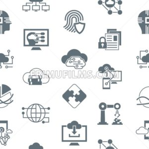 Digital vector artificial intelligence cloud icons set, seamless pattern - frimufilms.com