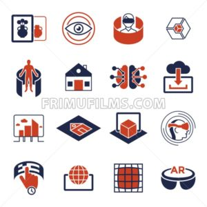 Digital vector augmented and virtual reality icons set infographics - frimufilms.com