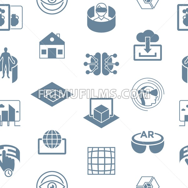 Digital vector augmented and virtual reality icons set, seamless pattern - frimufilms.com