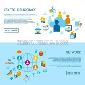 Digital vector crypto democracy and security icons set infographics - frimufilms.com