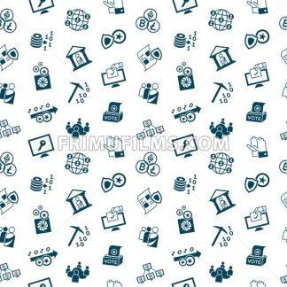 Digital vector crypto democracy and security icons set, seamless pattern - frimufilms.com