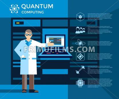 Digital vector quantum computing set infographics layout, engineer presentation - frimufilms.com