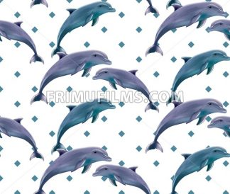 Dolphins pattern Vector. Spring summer dotted background - frimufilms.com