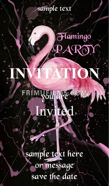 Flamingo party invitation card Vector. Watercolor Hand drawn background with paint splash - frimufilms.com