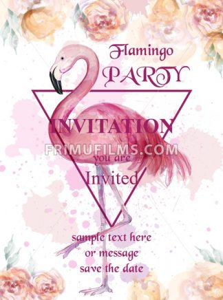 Flamingo party watercolor card Vector. Hand drawn background. Vintage paint stains original illustration - frimufilms.com