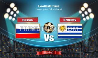 Football board Russia flag VS Uruguay. 2018 World championship template match. teams soccer national flags. red and blue trend sport background - frimufilms.com