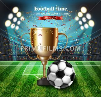 Football cup on the stadium Vector. Winner champion concept illustration - frimufilms.com