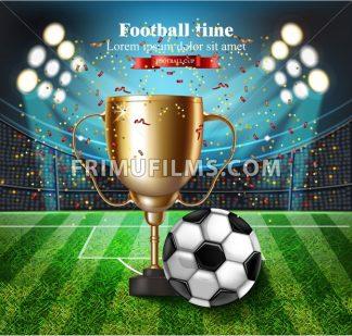 Football cup on the stadium Vector. Winner champion concept illustration - frimufilms.com