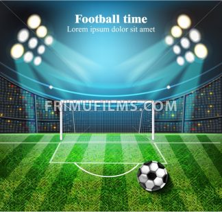 Football field Vector realistic. Soccer ball on the stadium with lights. detailed 3d illustration - frimufilms.com