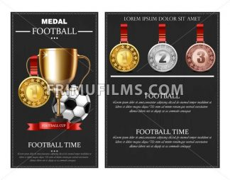 Football prize and medals Vector realistic illustration. Winner cup poster banner - frimufilms.com