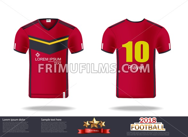 c5c951fe0 Tshirt mock up for sport club. Vector Illustration. 🔍. Football t-shirts  Vector. Design template for soccer jersey, football kit and tank