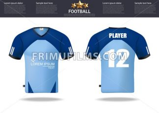 Football t-shirts Vector. Design template for soccer jersey, football kit and tank top for basketball jersey. Sport uniform in front and back view. Tshirt mock up for sport club. Vector Illustration - frimufilms.com