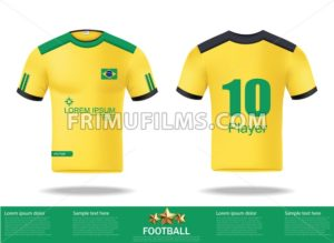 Football yellow t-shirts Vector. Design template for soccer jersey, football kit and tank top for basketball jersey. Sport uniform in front and back view. Tshirt mock up for sport club. Vector Illustration - frimufilms.com