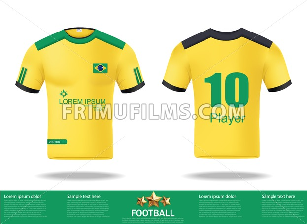 Football Yellow T Shirts Vector Design Template For Soccer Jersey Kit And Tank Top Basketball Sport Uniform In Front Back View