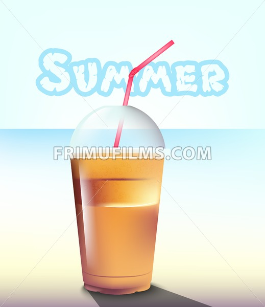 Frappe Vector realistic. Summer sea pastel background - frimufilms.com