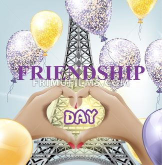 Friendship day card Vector. Eiffel tower love Paris illustration - frimufilms.com