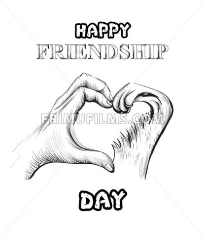 Friendship day card Vector. hands and pet forming a heart shape. line art - frimufilms.com