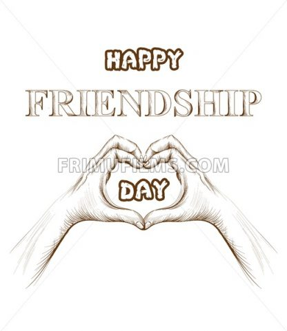 Friendship day card Vector. hands forming a heart shape. line art silhouette - frimufilms.com