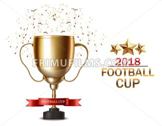 Golden cup Vector realistic. Football finals Competition. Mock up design 3d Flyer template golden background - frimufilms.com