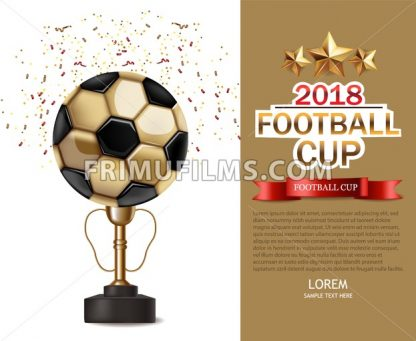 Golden cup and soccer ball Vector realistic. Football finals Competition. Mock up design 3d Flyer template golden background - frimufilms.com