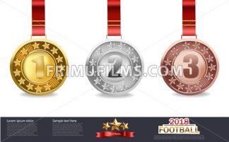 Golden, silver and bronze medals Vector illustration - frimufilms.com