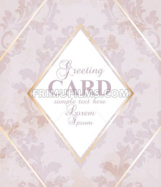 Greeting card golden frame with baroque ornament Vector illustration - frimufilms.com