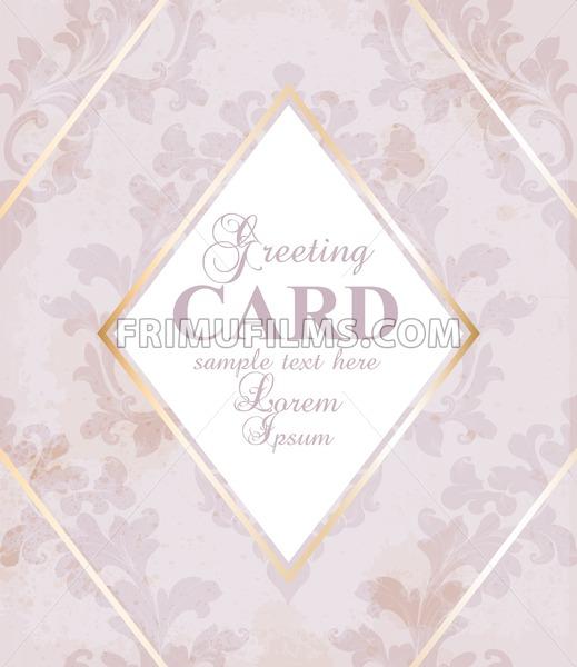 Greeting card golden frame with baroque ornament Vector illustration - frimufilms.com