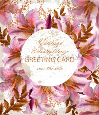 Greeting card with beautiful pink flowers. Golden abstract frames stylish card - frimufilms.com