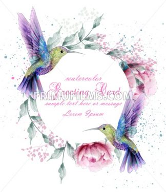 Greeting card with watercolor humming bird frame. Vector illustration - frimufilms.com
