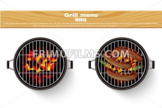 Grill bbq isolated Vector. Realistic hot fire bbq grilled sausage - frimufilms.com