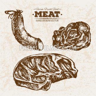 Hand drawn sausages sketch meat products set, farm fresh food, black and white vintage illustration - frimufilms.com