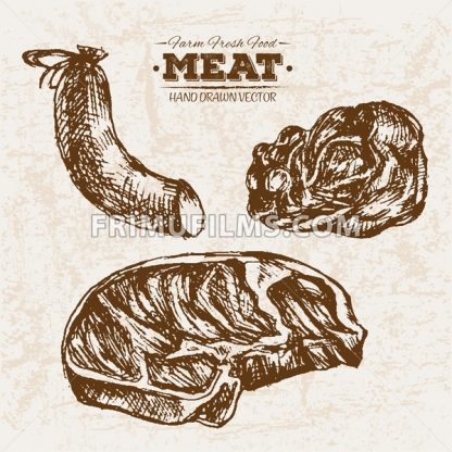 Hand drawn sausages sketch meat products set, farm fresh food, black and white vintage illustration - frimufilms.com