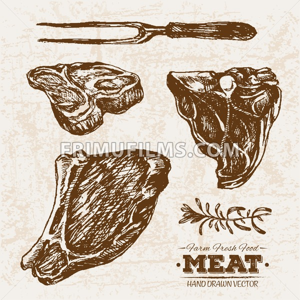 Hand drawn sketch beef stake meat with rosemary and fork, farm fresh food, black and white vintage illustration - frimufilms.com