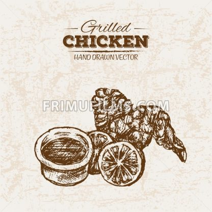 Hand drawn sketch chicken meat products set, farm fresh food, black and white vintage illustration - frimufilms.com