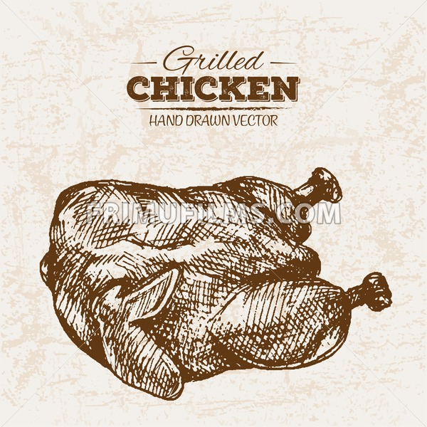Hand drawn sketch fried chicken meat, farm fresh food, black and white vintage illustration - frimufilms.com