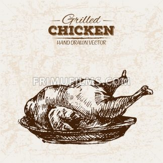 Hand drawn sketch grilled fried chicken meat, black and white vintage illustration - frimufilms.com