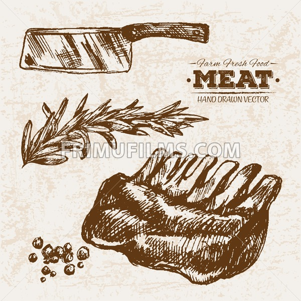 Hand drawn sketch grilled ribs meat and knife products set, farm fresh food, black and white vintage illustration - frimufilms.com