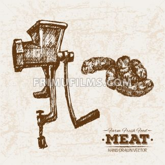 Hand drawn sketch meat and mincing machine, farm fresh food, black and white vintage illustration - frimufilms.com