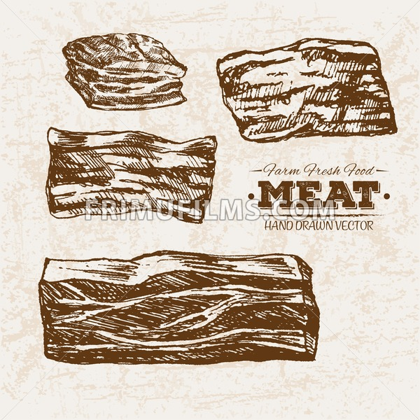 Hand drawn sketch meat ham products set, farm fresh food, black and white vintage illustration - frimufilms.com