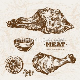 Hand drawn sketch meat products set and lemon, farm fresh food, black and white vintage illustration - frimufilms.com