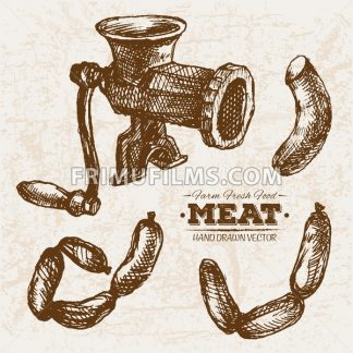 Hand drawn sketch meat products set and meat grinder, farm fresh food - frimufilms.com