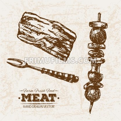 Hand drawn sketch meat products set bbq and skewers, farm fresh food, black and white vintage illustration - frimufilms.com