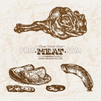 Hand drawn sketch meat products set, farm fresh food, black and white vintage illustration - frimufilms.com