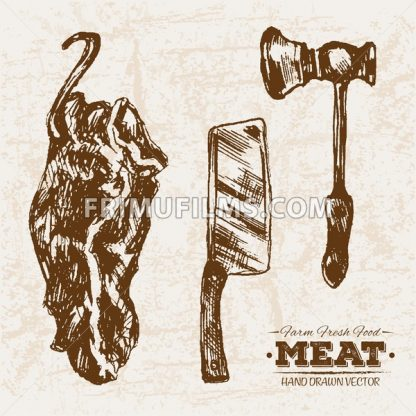 Hand drawn sketch meat products set, knife and hummer, farm fresh food, black and white vintage illustration - frimufilms.com