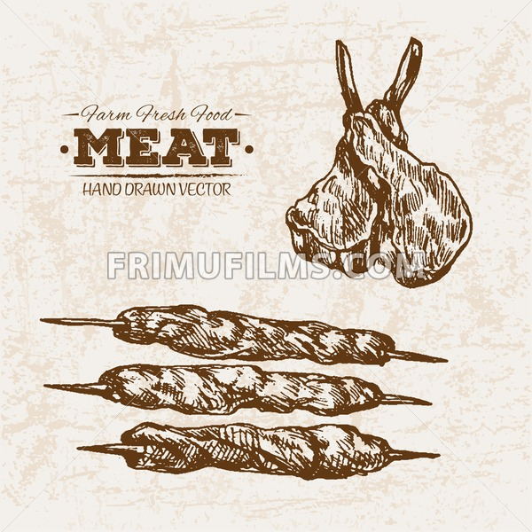 Hand drawn sketch meat products skewers set, farm fresh food, black and white vintage illustration - frimufilms.com
