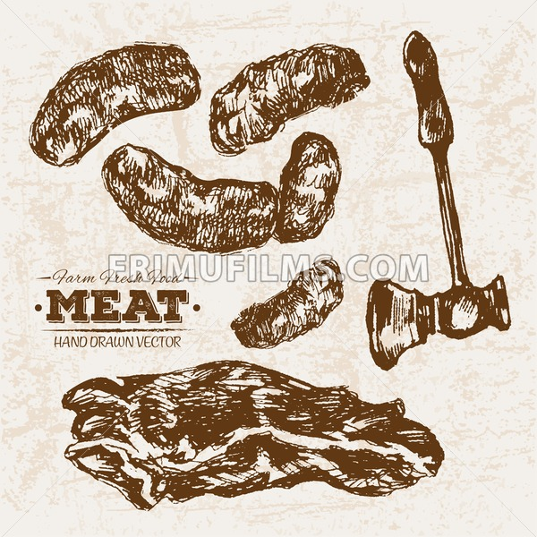 Hand drawn sketch meat sausages and hummer, farm fresh food, black and white vintage illustration - frimufilms.com