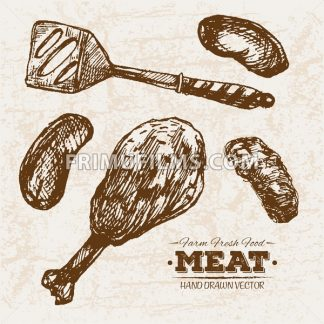 Hand drawn sketch meat sausages and legs products set, farm fresh food, black and white vintage illustration - frimufilms.com