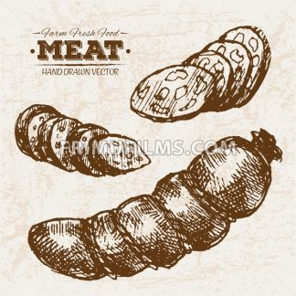 Hand drawn sketch meat sausages and salami products set, farm fresh food, black and white vintage illustration - frimufilms.com