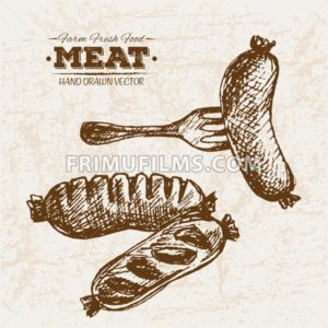 Hand drawn sketch meat sausages products set and fork, farm fresh food, black and white vintage illustration - frimufilms.com